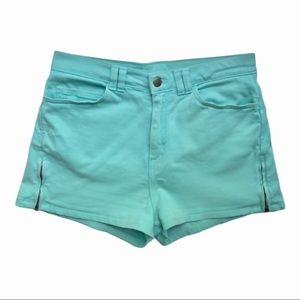 American Apparel High Waist Zip Shorts, Mint